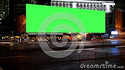 Κενή πράσινη οθόνη πινάκων διαφημίσεων διαφήμισης, για τη διαφήμιση, χρονικό σφάλμα απόθεμα βίντεο