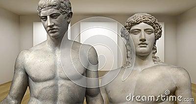 Κενή στοά, τρισδιάστατο δωμάτιο με τα ελληνικά scultures, αρχαία αγάλματα