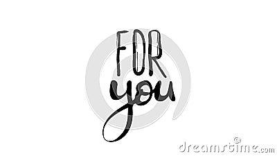 Κινούμενη φράση για εσάς σε λευκό φόντο Σενάριο σχεδίασης κινητού γραφικό κίνησης μαύρου κειμένου με γράμματα απόθεμα βίντεο