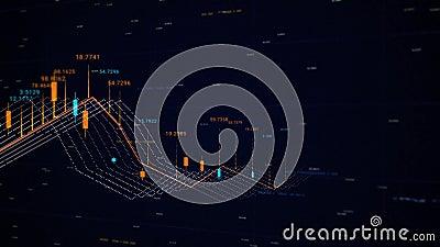 Κοινή χρήση γραφήματος κηρίων τιμών Κινούμενη εικόνα Πίνακας τιμών γραφήματος χρηματιστηρίου και διαγράμματος ράβδων Οικονομικό δ διανυσματική απεικόνιση