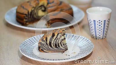 Κομμάτι του ζέβους `` κέικ `` με το λούστρο σοκολάτας Φάτε το με ραβδώσεις κέικ απόθεμα βίντεο