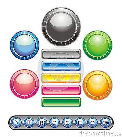 κυκλικός ορθογώνιος κουμπιών