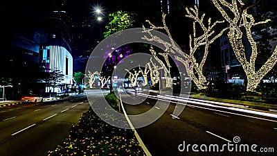 Κυκλοφορία στην πόλη Χρόνος-σφάλμα λεωφόρων 4K, νύχτα Βαριά κυκλοφορία που ρέει με τη θολωμένη κίνηση dusk απόθεμα βίντεο