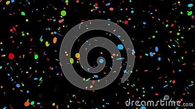 Κυκλικός ζωηρόχρωμος κομφετί στο Μαύρο - 4k βρόχος 30fps ελεύθερη απεικόνιση δικαιώματος