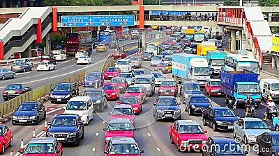 Κυκλοφορία ώρας κυκλοφοριακής αιχμής στο Χογκ Κογκ απόθεμα βίντεο