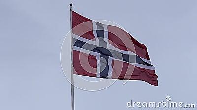 Κυματίζοντας νορβηγική σημαία σε σε αργή κίνηση φιλμ μικρού μήκους