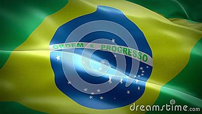 Κυματίζοντας σημαία της Βραζιλίας Εθνικός τρισδιάστατος βραζιλιάνος κυματισμός σημαιών Σημάδι της άνευ ραφής ζωτικότητας βρόχων τ διανυσματική απεικόνιση
