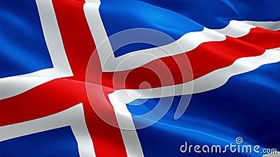 Κυματίζοντας σημαία της Ισλανδίας Εθνικός τρισδιάστατος ισλανδικός κυματισμός σημαιών Σημάδι της άνευ ραφής ζωτικότητας βρόχων τη ελεύθερη απεικόνιση δικαιώματος