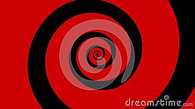 Κόκκινη και μαύρη σπειροειδής περιστροφή κινούμενων σχεδίων σε έναν βρόχο