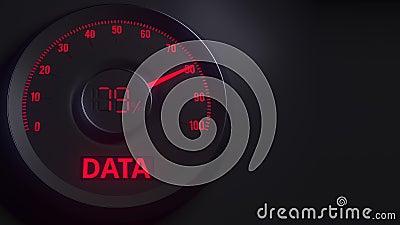 Κόκκινος και μαύρος μετρητής στοιχείων ή δείκτης, τρισδιάστατη ζωτικότητα απόθεμα βίντεο
