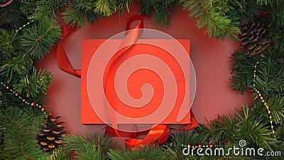 Κόκκινο κορδελλών και giftbox με τα ξύλινα παιχνίδια Χριστουγέννων που ανοίγουν, διακόσμηση απόθεμα βίντεο