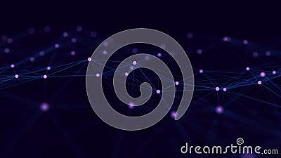 Κύμα σωματιδίων Φόντο φουτουριστικών μπλε κουκκίδων με δυναμικό κύμα Μεγάλα δεδομένα απόδοση 3d ελεύθερη απεικόνιση δικαιώματος