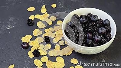 Κύπελλο των βατόμουρων, των βακκινίων και των δημητριακών φυσικό πρόγευμα πρωινού φιλμ μικρού μήκους
