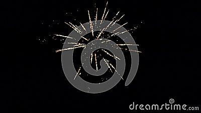 Λαμπρά τα ζωηρόχρωμα εκρηκτικά πυροτεχνήματα ανάβουν επάνω το νυχτερινό ουρανό στους νέους εορτασμούς παραμονής έτους ` s Καλή χρ απόθεμα βίντεο