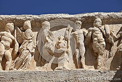 Λεπτομέρεια του ναού Hadrian σε Ephesus