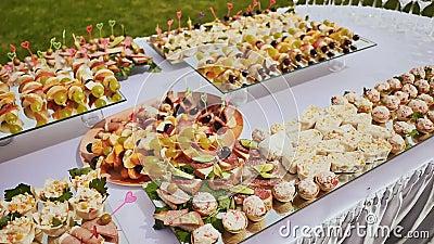 Μαγειρευμένες εορταστικές απολαύσεις για τους φιλοξενουμένους επ' ευκαιρία του γάμου Υπέροχα διακοσμημένος μπουφές Φύση Εορτασμός απόθεμα βίντεο