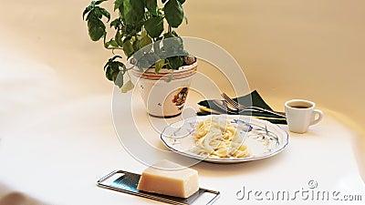 Μακαρόνια - φρέσκα μαγειρεμένα και πεντανόστιμα, γεμισμένα με πιρούνι σε πιάτο απόθεμα βίντεο