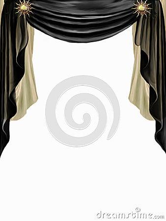 Μαύρη και χρυσή κουρτίνα στην άσπρη