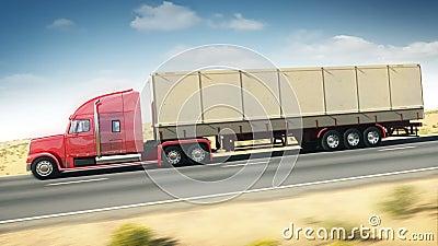 Μεγάλο φορτηγό σε μια εθνική οδό