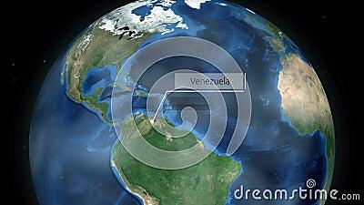 Μεγέθυνση μέσω του διαστήματος σε μια χώρα στη σφαίρα στη ζωτικότητα της Νότιας Αμερικής - Βενεζουέλα - ευγένεια εικόνας της NASA απόθεμα βίντεο