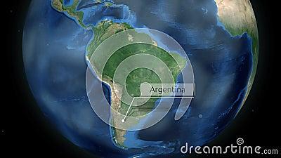 Μεγέθυνση μέσω του διαστήματος σε μια χώρα στη σφαίρα στη ζωτικότητα της Νότιας Αμερικής - Αργεντινή - ευγένεια εικόνας της NASA φιλμ μικρού μήκους