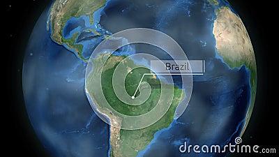 Μεγέθυνση μέσω του διαστήματος σε μια χώρα στη σφαίρα στη ζωτικότητα της Νότιας Αμερικής - ευγένεια εικόνας της Βραζιλίας της NAS φιλμ μικρού μήκους