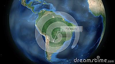 Μεγέθυνση μέσω του διαστήματος σε μια χώρα στη σφαίρα στη ζωτικότητα της Νότιας Αμερικής - ευγένεια εικόνας της Παραγουάης της NA φιλμ μικρού μήκους