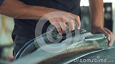 Μηχανικό στρώνοντας με άμμο αυτοκίνητο αυτοκινήτων απόθεμα βίντεο