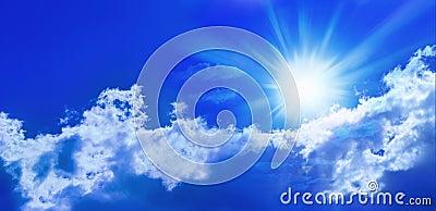 μπλε ήλιος ουρανού πανοράματος