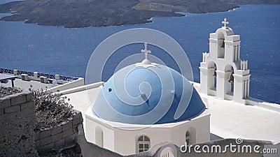 Μπλε θόλος στη Φίρα, Ελλάδα απόθεμα βίντεο