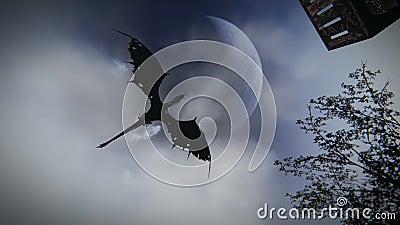 Μυθολογικός δράκος που πετά πέρα από ένα μεσαιωνικό του χωριού μήκος σε πόδηα