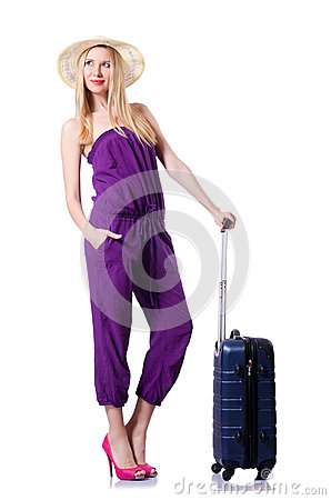 Νέα γυναίκα με τη βαλίτσα