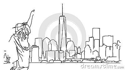Νέα Υόρκη με το άγαλμα της ζωτικότητας περιλήψεων ελευθερίας