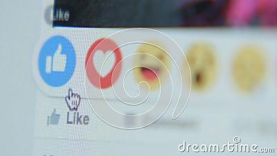 Να αγγίξει στο εικονίδιο όπως σε Facebook - κλείστε επάνω, πλευρά φιλμ μικρού μήκους