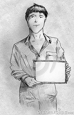 Νεαρός άνδρας με ένα σημάδι