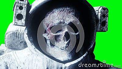 Νεκρός αστροναύτης zombie στο διάστημα πτώμα πράσινη οθόνη Ρεαλιστική 4K ζωτικότητα διανυσματική απεικόνιση