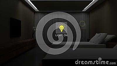 Ξενοδοχείο, φως δωματίων κρεβατιών σπιτιών επάνω από την ενέργεια - έλεγχος αποδοτικότητας αποταμίευσης, έξυπνος εγχώριος έλεγχος ελεύθερη απεικόνιση δικαιώματος