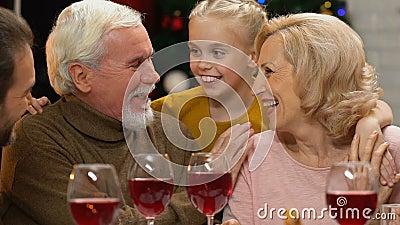 Οικογένεια που κουβεντιάζει και που αστειεύεται στο γεύμα Χριστουγέννων, ευτυχές να συναντηθεί για τις διακοπές απόθεμα βίντεο