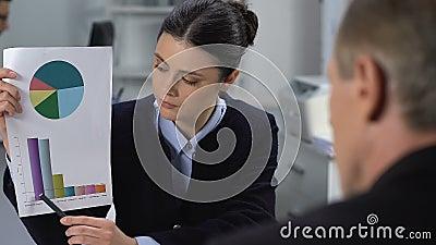Οικονομικός αναλυτής που εμφανίζει στατιστικά στοιχεία κατά τη σύσκεψη με τον ανδρικό διευθυντή φιλμ μικρού μήκους