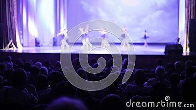 Οι θεατές προσέχουν την απόδοση του χαριτωμένου χορού μπαλέτου στο θέατρο, πίσω άποψη απόθεμα βίντεο