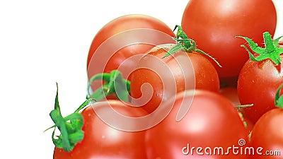 Οι ντομάτες κερασιών juicy περιστρέφονται έννοια της γνήσιας και φρέσκιας ντομάτας Κόκκινος απόθεμα βίντεο