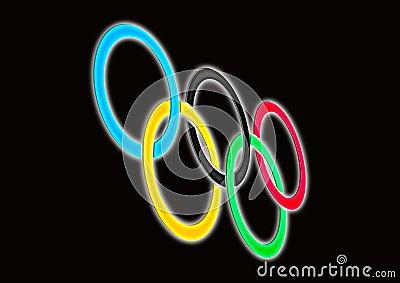 ολυμπιακά δαχτυλίδια Εκδοτική Φωτογραφία