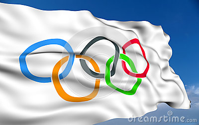 Ολυμπιακή σημαία Εκδοτική Εικόνες
