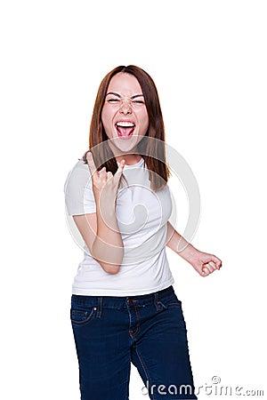 Ο θηλυκός gesturing βράχος - και - κυλά το σημάδι