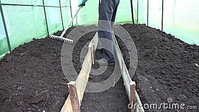 Ο κηπουρός προετοιμάζει το εδαφολογικό κρεβάτι με raker το εργαλείο στο θερμοκήπιο 4K φιλμ μικρού μήκους