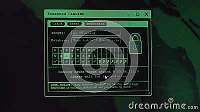 Ο κωδικός πρόσβασης ράγισε, unrecognizable χάκερ υπολογιστών που κλέβει τα προσωπικά στοιχεία, έννοια εγκλήματος Διαδικτύου cyber φιλμ μικρού μήκους