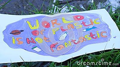 Ο κόσμος των πλαστικών δεν είναι φανταστικός πόστερ στην υγειονομική ταφή, κίνδυνος παγκόσμιας ρύπανσης φιλμ μικρού μήκους