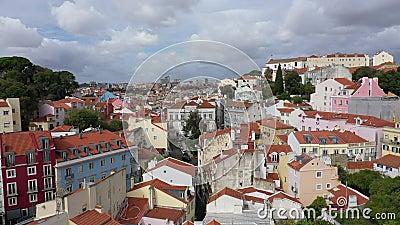 Ο λόφος Alfama στη Λισαβόνα από ψηλά φιλμ μικρού μήκους
