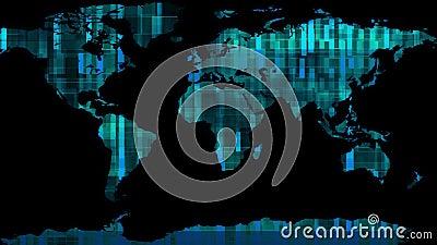 Ο ολογραφικός γήινος χάρτης επίδειξης με τα στοιχεία εμποδίζει κίνησης δυναμικό ζωντανεψοντα ζωηρόχρωμο ποιοτικών καθολικό κινήσε ελεύθερη απεικόνιση δικαιώματος