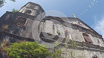 ο 16ος αιώνας ισπανικά έχτισε την εκκλησία κοινοτήτων SAN Agustin που παρουσιάζει πρόσοψή της απόθεμα βίντεο